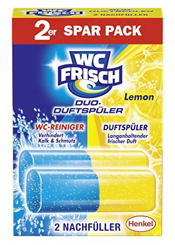 WC FRISCH Duo-Duftspüler Lemon, WC-Reiniger und WC-Duftstein, Nachfüllpack (1 x 2 Stück)