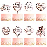 8 Pack Happy Birthday Cake Topper, CBGGQ Multicolour Acrylic Cupcake Topper for Various Birthday Party Cake Decoration for Girls Kids Baby Birthday Wedding Mother Cake Decorations Supplies (Rose Gold)