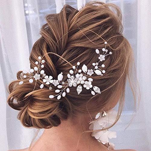 Unicra Diadema de novia de flores para boda con diamantes de imitación, accesorio para el pelo de novia para mujeres y niñas