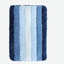 Gradient Stripe Microfiber Bath Rug Absorbent Non-Slip Bath Foot Pad Mat Carpet-Blue for Kitchen Indoor Rugs Bathroom Mats