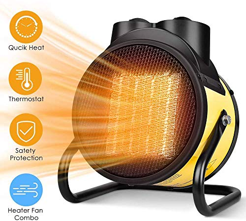 Space Heater - 2 In 1 Ceramic Heater, 1500W Electric Heater, Fan Heater, Fast Heating, Thermostat Adjustable, Overheat and Tip-Over Protection, Indoor Portable Heater for Home, Office, Garage