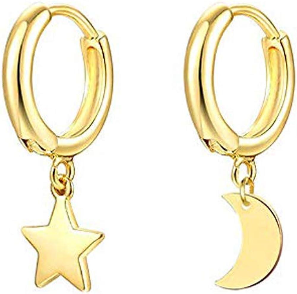 Women Boho Tiny Hoop Earrings Heart Cross Star Triangle Dangle Earrings Jewelry