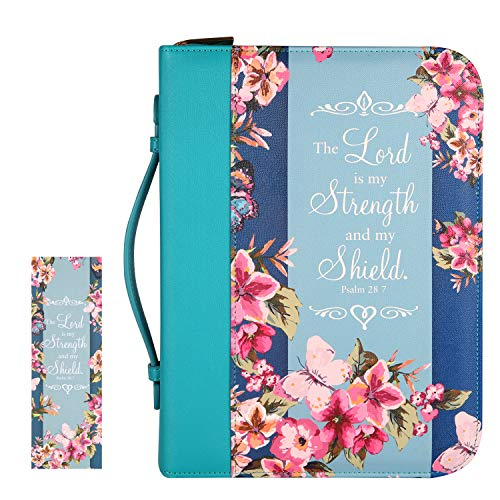 "Bible Cover Case for Women with a Matched Bookmark Floral PU Leather Bible Cover Bag with Pockets and Zipper for Standard and Large Size Study Bible 10.5""x8""x2.5"" (Peach and Butterfly)"