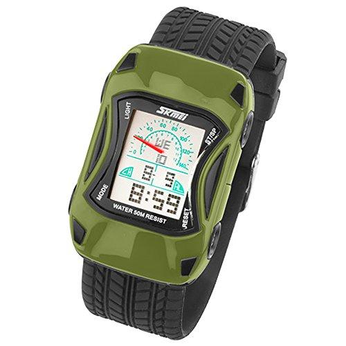 Taffstyle Kinder Armbanduhr Silikon Sportuhr Bunte Uhr Stoppuhr Auto Motiv mit Alarm Digital Quartz Olivgrün