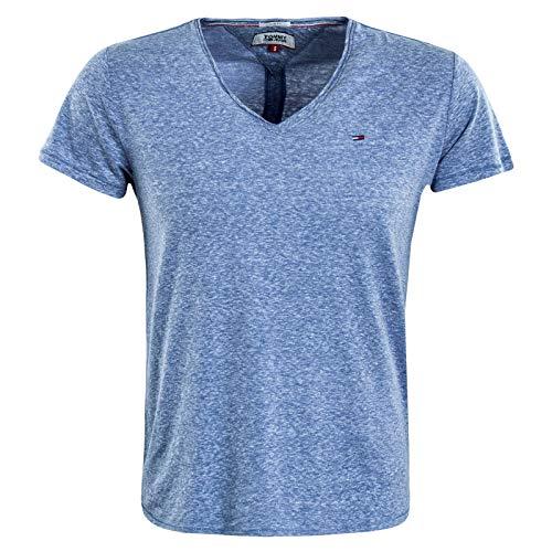 Tommy_Jeans Herren TJM BASIC VNECK TEE T shirt, Blau (DUTCH BLUE CE4), Large (Herstellergröße:L)