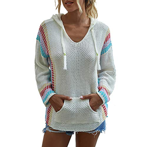 Women's Hoodie Sexy V-Neck Kangaroo Pocket Elegant Fall Fashion Casual New Long Sleeve Classic All-Match Chic Slim Comfortable Women's Tops Women's Pullovers White_ M