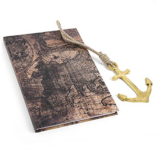 Logbuch-Verlag Set de regalo – Cuaderno vintage DIN A5 con diseño de mapa del mundo + colgante de ancla de metal dorado marrón – Idea de regalo libro de viaje