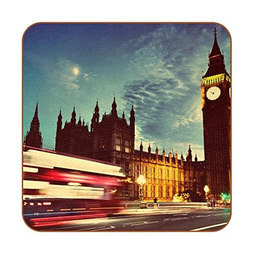 Juego de 6 Alfombrillas Antideslizantes para Tazas con Forma de Reloj Big Ben, Almohadillas cuadradas de protección para Mesa, Posavasos para Bebidas fáciles de Limpiar