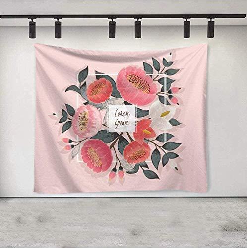 QAZX Tapiz Mural Pintura al óleo Tapiz Colgante de Pared Flores Rojas Rosas Rectángulo Grande Decoración de Arte de poliéster Sala de Estar Dormitorio Tela 200x150cm
