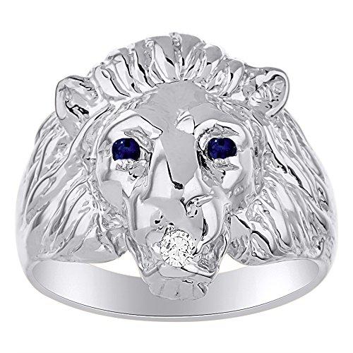 Juego de anillos de cabeza de león con diamante auténtico en boca y zafiros naturales en los ojos, chapado en oro blanco sobre plata de ley 925.