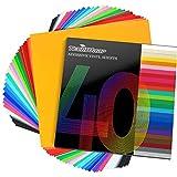 TECKWRAP Hojas de vinilo adhesivo permanente 12'x 12' 40 hojas/paquete de colores surtidos para cortadores de manualidades