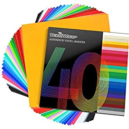 TECKWRAP Permanent Adhesive Vinyl Sheets 12″ x 12″ 40 Sheets/Pack Assorted Colors for Craft Cutters