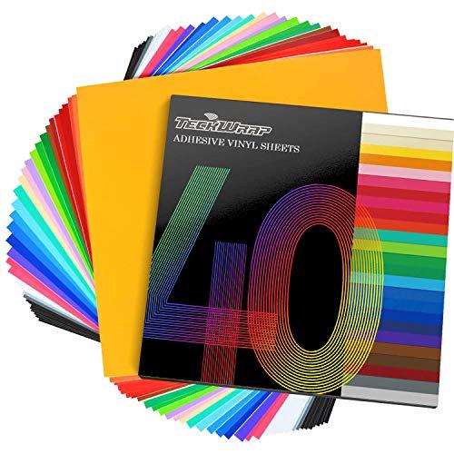 TECKWRAP Fogli in Vinile Adesivo Permanente 12'x 12' 40 Fogli/Confezione Colori Assortiti per taglierine Artigianali
