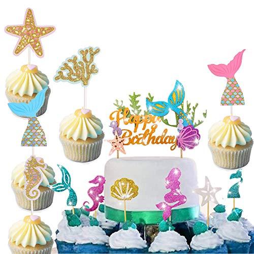 kuchendekoration meerjungfrau,Cupcake meerjungfrau,Cupcake Stäbchen,Cake Tortenstecker für Mädchen,Essen Topper,Geburtstagskuchen Deko,Muffin deko,Cupcake Tortenstecker,Torte Topper,Kuchen Topper