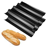 Fasmov Set of 2 French Bread Baking Pan Nonstick Perforated Baguette Pan 4 Wave Loaves Loaf Bake...