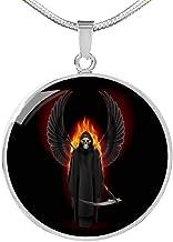 Santa Muerte - Collar con colgante circular de acero inoxidable con diseño de Papá Noel