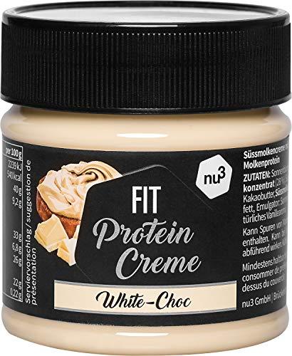nu3 Fit Protein Creme - weiße Schokolade - 200g Aufstrich mit feiner Vanille-Note - mit 21% Eiweiß & ohne Zusatz von Zucker - alternative zu Schoko-Creme aus dem Supermarkt - Glutenfrei & ohne Palmöl