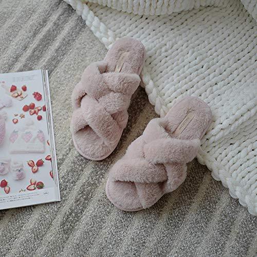 Mujer Peluche Memory Foam Zapatillas De Casa,Pantuflas Antideslizantes Resistentes al Desgaste, Ropa de hogar algodón Drag-Pink_36-37,Invierno Impermeables Pantuflas