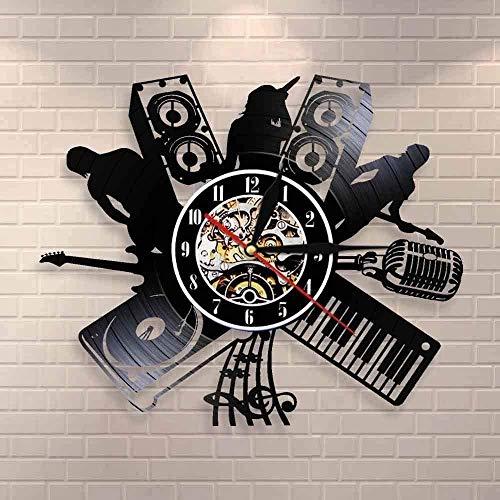 ZZLLL Reloj de Pared de Vinilo con grabación de música, micrófono, Banda de música para DJ, Cantante de melodía, Banda de Rock, Instrumento de Banda de Jazz, Reloj Retro