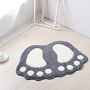 Eleoption Non Slip Bath Mat, Fast Dry Bathroom kitchen Mats Lovely Feet Patterned Soft Comfortable Water Absorbent Stylish Non-Slip Backing for Bedroom, Kitchen, Hallway, Doorway (Big (67*48CM), Gray):Wenstyle
