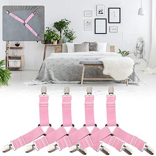 Oumefar - Soporte de hojas con suspensión antideslizante para colchón (rosa)
