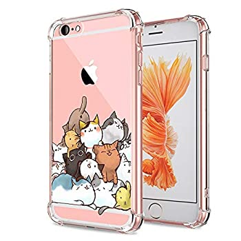 iPhone 6S Case Cat Ultra Crystal Clear with Design Cute Pile of Cat Texture Bumper Protective Case for Apple iPhone 6 6S Case 4.7 Inch Gel Soft TPU Silicone Material Slim Shockproof Funny Girly Cover