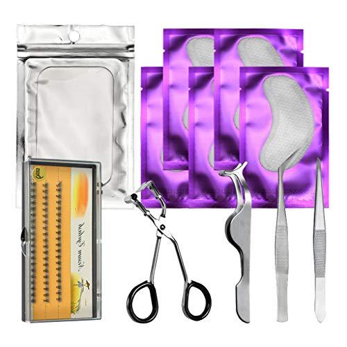 B Blesiya 11pcs Cils Extension Set/Eyelash Pads/Tweezer/Lashes/Curler/Titulaire De Cils - Violet