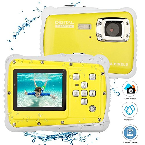 Elegantamazing - Cámara de vídeo Digital para niños (12 MP, Pantalla LCD de 2 Pulgadas, Sumergible hasta 3 m), Pantalla de 2.0, Color Amarillo