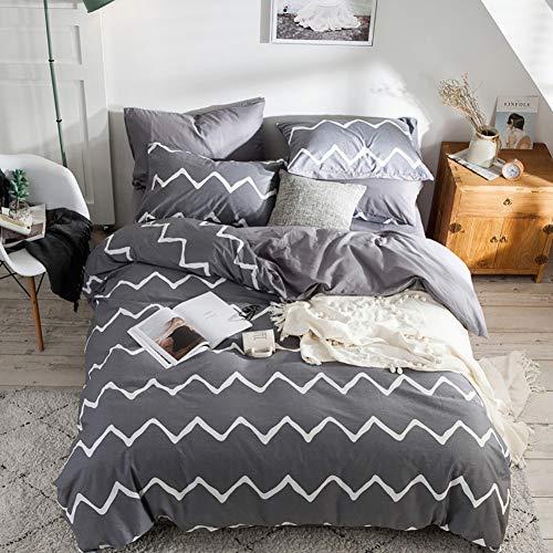 Luofanfei Wellen Bettwäsche 135 x 200 cm Gestreift Baumwolle Geometrisch Bettbezug Streifen Grau und Weiß Zweiseitig Gemustert Faltenfrei