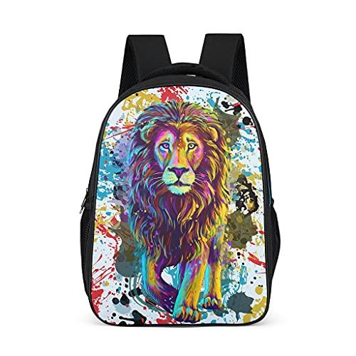 Mochila de león de acuarela para niños y adolescentes y adultos bolsas de libros escolares regalos para niños y niñas