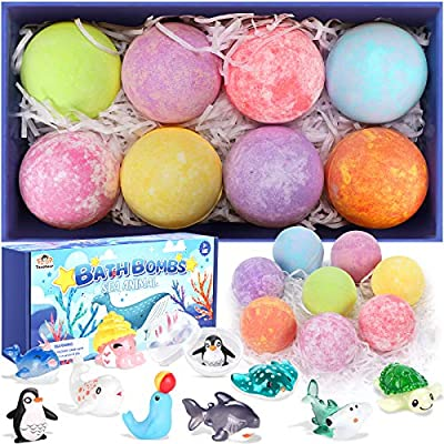 Tacobear Bath Bombs for Kids with Surprise Toys Inside, 8 Pack Handmade Bath Fizzies with Sea Animals, Kids Safe Spa Bath Fizz Balls Kit, Birthday Gift Set for Boys Girls Wife Girlfriend