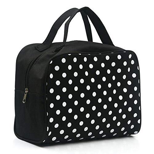 Sacs à cosmétiques Fashion Lady Organizer Multi Functional Storage Dots Women Makeup Bag with Pockets Toiletry Pouch-Black_25 * 20 * 12cm