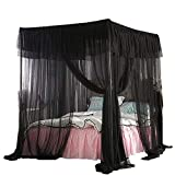 Mengersi 4 Corners Post Bed Curtain Canopy Bed Frame Canopies for Girls & Adults Bed Drape Netting Bedroom Decoration Accessorie(Queen, Black)