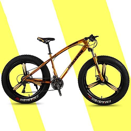 SHUI 26 Pulgadas Bicicleta De Montaña Fat Tire para Hombre, Cuadro De Acero con Alto Contenido De Carbono, 21 Velocidades MTB, Ruedas De 3 Radios, Freno De Disco Estable, Gold-24sp