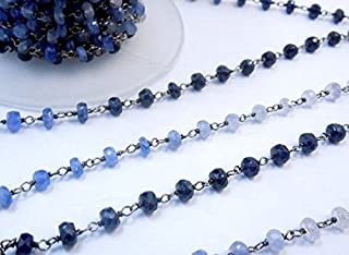 10 Feet Natural Blue Saphire Faceted 3-3.5 mm Rondelle Black Rhodium Plated Rosary Chain