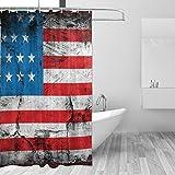 JSTEL Vereinigten Staaten von Amerika Flagge Polyester-Duschvorhang Schimmel resistent & wasserfest-182,9x 182,9cm für Home Extra Lang Badezimmer Deko Dusche Bad Gardinen Liner mit 12Haken