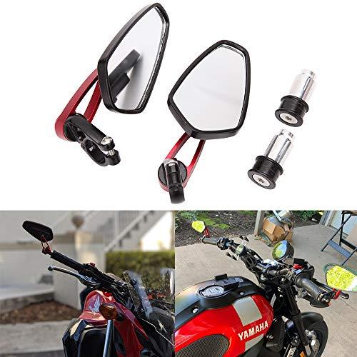 "7/8""22mm Specchietti per manubrio da moto, specchietti laterali rossi per manubrio per scooter Cruiser Sport Bike Chopper"