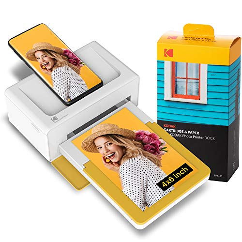 Kodak PD460 Dock Plus 4x6 & Bluetooth +90 Fotos, tragbarer Mini Fotodrucker, mobiler Drucker für Smartphone (iPhone und Android), Sofortbilder in Premium-Qualität unterwegs mit dem Handy drucken