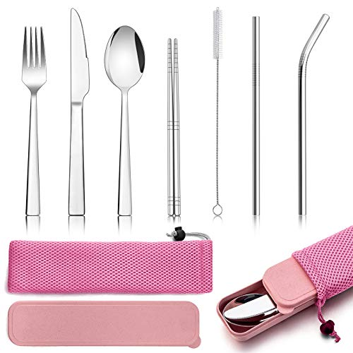 9 Piece Travel Cutlery Sets, Homikit Stainless Steel Camping Cutlery Set for 1, Including Silver Fork Knife Spoon, Chopsticks, Metal Straws, Cleaning Brush, Case & Bag, Portable & Reusable - Pink