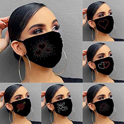 Glänzend Strass Mundschutz, 5 Stück Damen Waschbar Mund und Nasenschutz mit Liebesherz Glitzer, Staubdicht Atmungsaktive Wiederverwendbar Elastisch Multifunktionstuch Radfahren Halstuch
