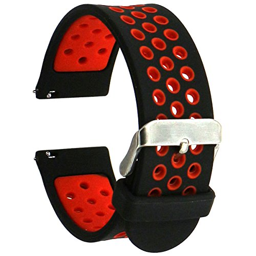 Elespoto 22mm correa Silicona Banda de Reloj de la correa de para Samsung Gear S3 frontier Gear S3 Classic Gear2 Pebble Time Garmin Vivomove Sport Garmin Vivomove Classic Urbane Smartwatch (Black Red)