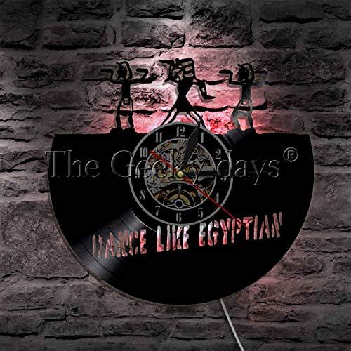 GodyGT 1 Pieza de Reloj de Vinilo Egipcio con Reloj de Pared de diseño Retro Iluminado Que Baila como un Letrero de Pared Egipcio