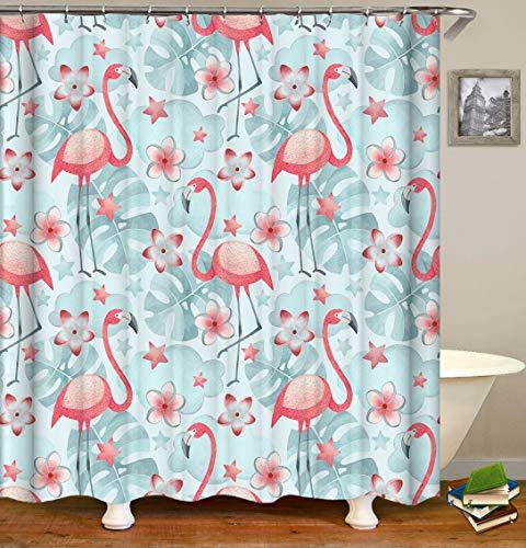 Flamingo Duschvorhänge Stoff, rosa Flamingo, grau-blaue Palmblatt-Hintergr&, Dekoration, Design, Polyester-Tuchdruck, Badezimmervorhänge inklusive Haken, Set 183 x 183 cm (s2825)