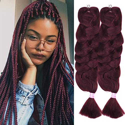 Christmas Gifts 2 Pack Jumbo Braiding Hair Wine Red Color xpression Braiding Fiber Hair Extensions African Jumbo Braids for Twist Corchet (165g/pcs, 84inch,99j#)