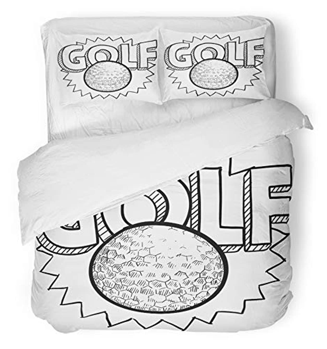 Emvency 3 Piece Duvet Cover Set Brushed Microfiber Fabric Breathable Drawing Doodle Style Golf in Includes Text and Ball Birdie Bunker Champion Club Bedding Set with 2 Pillow Covers Full/Queen Size