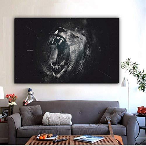 Leeuw foto gevaarlijk dier poster en printmaking muur abstract art deco canvas schilderij frameloze 24x38 inch