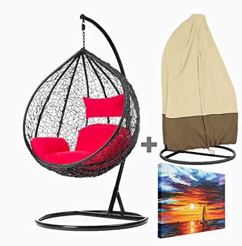 RE ONN Hanging Swing Chair with Stand Cushion & Water Proof Cover for Garden Patio Balcony Outdoor Indoor Colour: Black