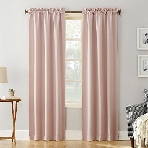 "Sun Zero 51737 Easton Blackout Energy Efficient Rod Pocket Curtain Panel, 40"" x 63"", Blush Pink"