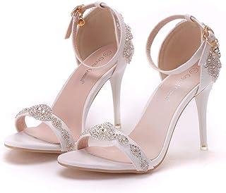 Women's Bridal Shoes,9 cm Word band Crystal Sequin Roman Sandals Stiletto Heel Sandals Wedding shoes,Prom Club Business Evening Wedding Party Dress Bridesmaid shoes,37 EU