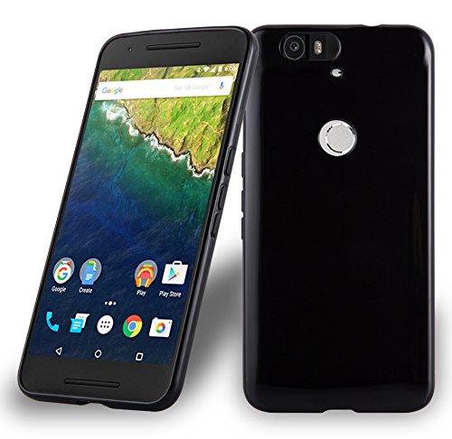 Cadorabo Hülle für Huawei Nexus 6P - Hülle in SCHWARZ – Handyhülle aus TPU Silikon im Ultra Slim 'AIR' Design - Silikonhülle Schutzhülle Soft Back Cover Case Bumper